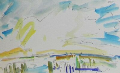 JOSE TRUJILLO ORIGINAL Watercolor Painting EXPRESSIONISM Marshland Wetland Blue