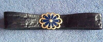 vintage 80s quality dark blue leather gold enamel flower hook buckle belt 8 10