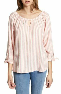 "SANCTUARY $79 ""Summer Escape"" Striped Peasant Blouse Top Small 4/6 S NWT"