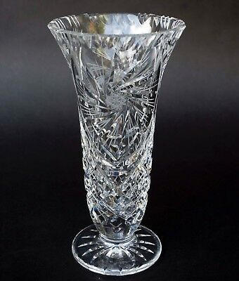 "Signed Vintage Crystal Cut Glass PINWHEEL DESIGN Etched STAR 9"" VASE"
