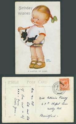 MABEL LUCIE ATTWELL 1925 Old Postcard Black Cat Kittens Birthday Lapful Luck 805