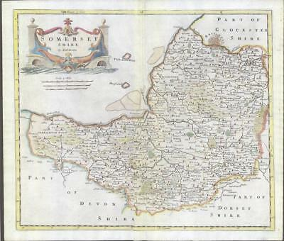 1722 - Original Antique Map of SOMERSET by Robert Morden HAND COLOURED (1M)