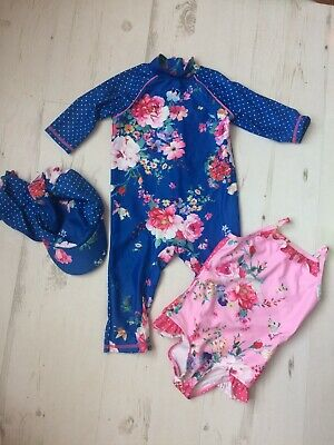 e2105244ccd69 Boots Mini Club Floral Swim Suit Sun Safe And Hat Pink Blue Floral  18-24months