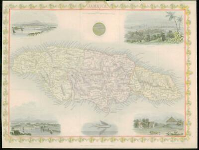 "1850 - RARE Original Antique Map ""JAMAICA"" by TALLIS FULL COLOUR (42)"