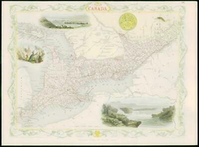 """1850 - Original Antique Map of """"WEST CANADA"""" by TALLIS - FULL COLOUR (14)"""