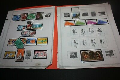 GIBRALTAR LOT of 50+ Stamps on Minkus Album Pages in Mounts