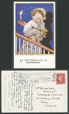 MABEL LUCIE ATTWELL 1938 Postcard TEDDY BEAR Up Wooden Hill to Bedfordshire 3279