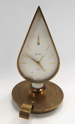 SWIZA 7 Jewels 8 Day Brass Wind Up Candle Holder Shaped CLOCK - W66