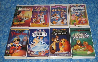 Walt Disney Lot of 8 Animated Films on VHS Video Tapes Excellent Tested USA