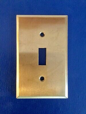 Vtg solid brass Wall Switch PLATE nice patina classic BRUSHED minimalist toggle
