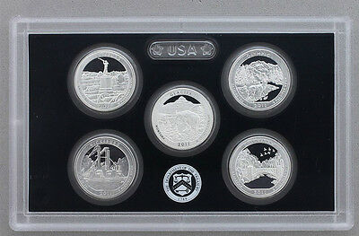2011 US MINT 5 COIN AMERICA the BEAUTIFUL 90% SILVER PROOF QUARTER SET