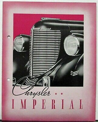 1938 Chrysler Imperial Coupe Sedan Touring Convertible Sales Folder Original