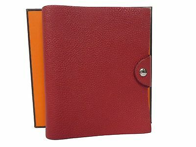Auth Hermes Togo Leather Ulysse Notebook Holder Rouge Excellent T446