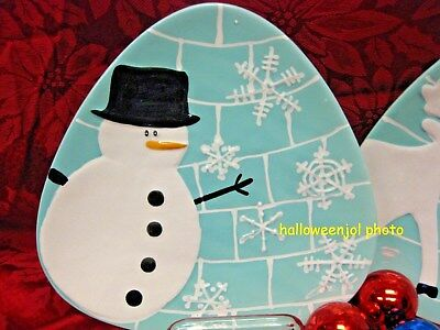 222 FIFTH Arctic Holiday CHRISTMAS SNOWMAN SALAD TRAY PLATE NEW