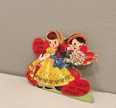Vtg Valentine Card Redhead Pretty Little Girl Boy Gift Me Your Heart Unused