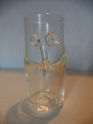Modern Studio Art Glass Hand Blown Face Clear Vase Signed S Fine Glass Dated 88!