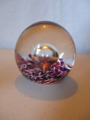 Vintage Modern Studio Art Glass Paperweight Trapped Air Bubble Signed!