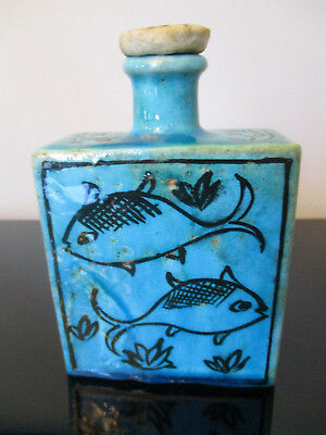 Antique Iznik Persian Islamic Kashan Blue Turquoise Fish Pottery Decanter Bottle