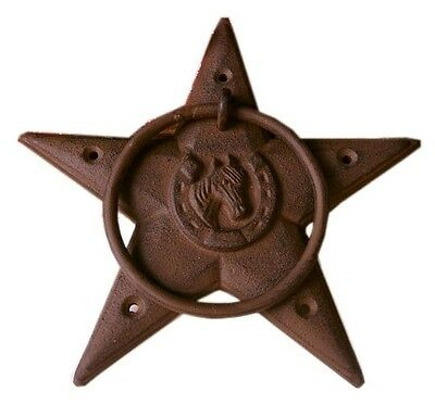 CAST IRON Large Heavy Star With Ring Western Hitching, Barn, Bath Rustic Brown