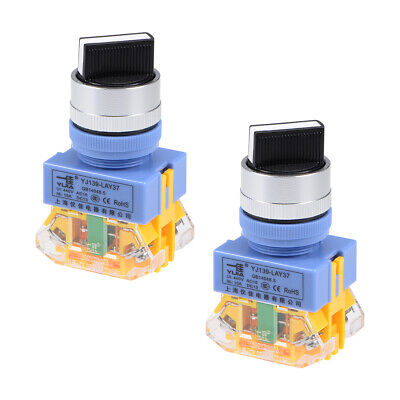 Rotary Selector Switch 3 Positions 2NO Self-Lock Latching AC 440V 10A 2pcs