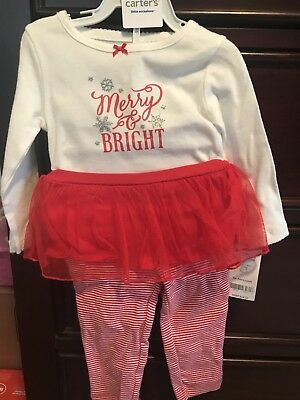 e3f032c32 Carters Baby Girl Merry And Bright One Piece And Tutu Leggings 9 Mos BNWT