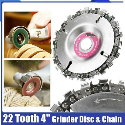 "4"" Angle Grinder Disc and 22 Tooth Chain Saw For Wood Carving Cutting Tool UK"