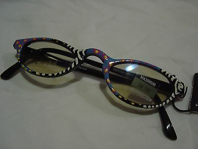 Art Wear HAND PAINTED SUNGLASSES Multi Colored Black Plastic Colorful BRAND NEW