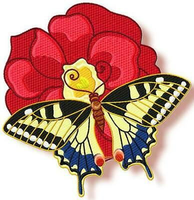 BUTTERFLY ON FLOWER 10 MACHINE EMBROIDERY DESIGNS CD or USB