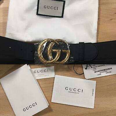 608c3a143e8 Auth Gucci Belt GG GOLD Buckle Black Leather MARMONT size 85   34 fits 28-
