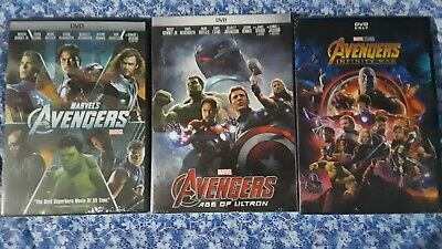 Avengers 1-2-3 DVD Trilogy All Movies Marvel Age of Ultron, Infinity War New!