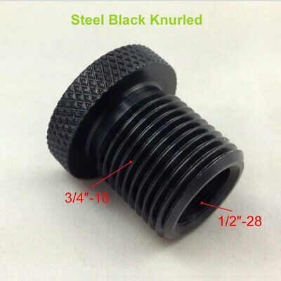 1/2-28 to 3/4-16 Automotive Threaded Oil Filter Adapter Black Steel Knurled