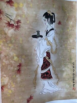 Very Large Old Chinese or Japanese Scroll Painting Panel Wall Hanging
