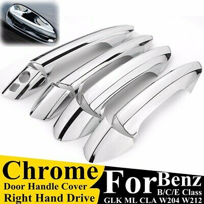 4X Chrome Door Handle Inserts Cup Bowls For Mercedes-Benz C Class W204 2008-2013