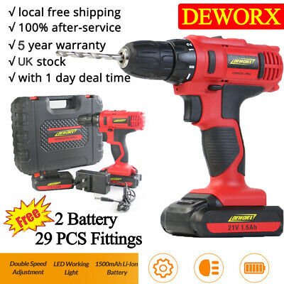 RECHARGEABLE CORDLESS COMBI DRILL DRIVER 2x LI-ION BATTERY ELECTRIC SCREWDRIVER