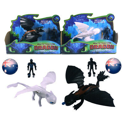 How to Train Your Dragon Toothless NightFury&LightFury+Hiccup Action Figures Toy