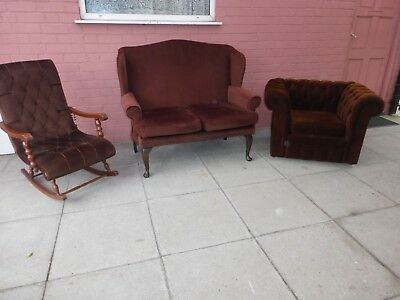 A Brown Fabric Chesterfield Style Three Piece Suite  **DELIVERY AVAILABLE**