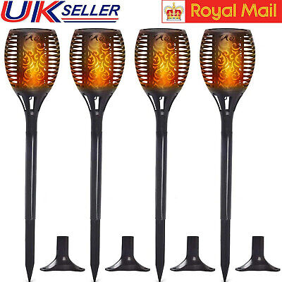 4PCS Waterproof 96LED Solar Torch Lights Dancing Flickering Flame Garden Lamp UK