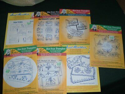 7 Vtg Lot Aunt Martha Hot Iron Embroidery Transfers Pillow Cases+ DOW #pf18