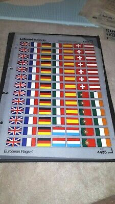 1970's UNUSED LETRASET TRANSFER SHEET 4435 - EUROPEAN FLAGS-1