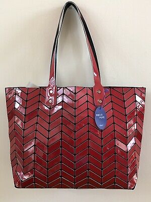 902feaa29ad EMILIO PEPE Shiny Red Sections Shoulder Italy Handbag Lightweight & Trendy  ~NWT