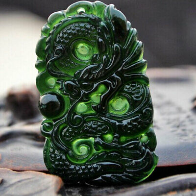 Chinese Natural Black Green Jade Dragon Pendant Hand Carved Lucky Amulet Gifts