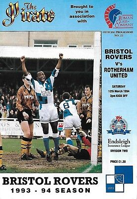 SIGNED Football Programme>BRISTOL ROVERS v ROTHERHAM UTD Mar 1994>6 AUTOGRAPHS