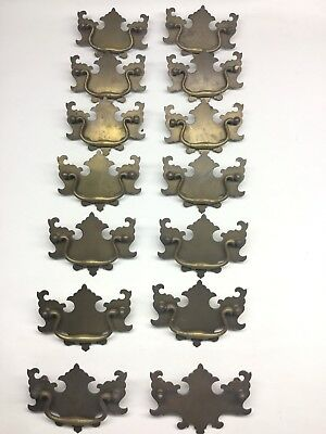 """Set Of 14 Chippendale Batwing Large Brass Drawer Pulls 3 3/4"""" Bore"""