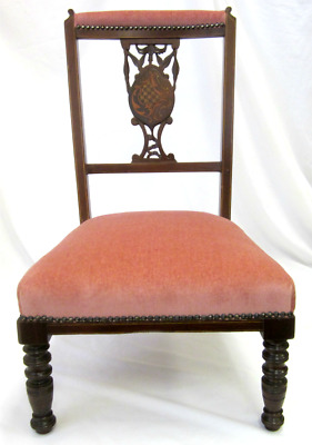 Reupholstered Edwardian 1910 Nursing Bedroom Chair With Carved & Inlaid Splat