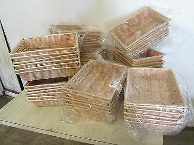 "Lot Of (48) New ""Tablecraft Commercial Natural Rectangular Handwoven Baskets"