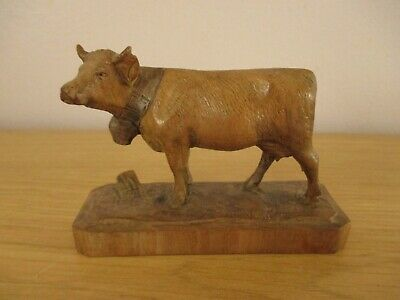 Antique Black Forest Cow Swiss Wood Carving