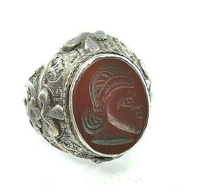 ring silver rare antique agate stone intaglio ancient roman king face seal