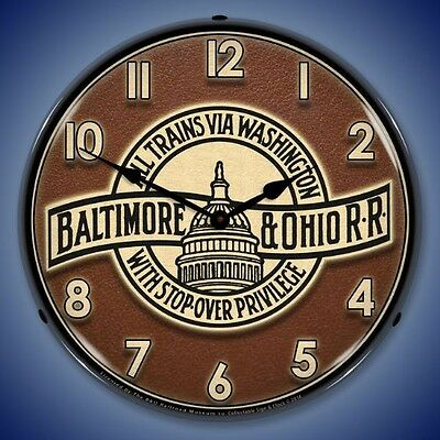 New Baltimore & Ohio Railroad With Stop  Over Privilege LED LIGHTED train clock