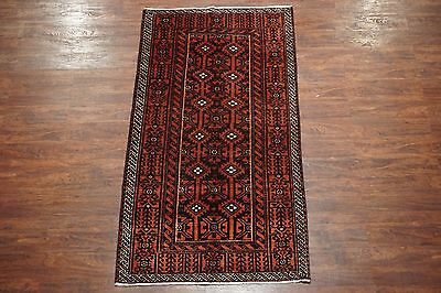 4X7 Persian Antique Baluchi Tribal Area Rug Hand-Knotted Wool Carpet (3.7 x 7)