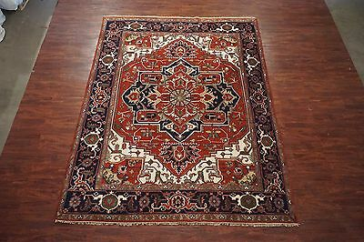 Persian 9X12 Antiqued Serapi Hand-Knotted Veg' Dye Wool Area Rug (8.10 x 11.8)